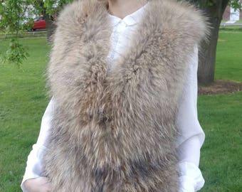 Fox fur gilet, waistcoat or vest. Brown fox fur gilet. Adjustable size.  medium size. Very warm and rich.