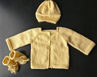 Knitting yellow baby set