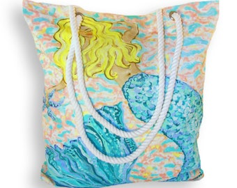 Sale for limited time & FREE SHIPPING!  Large Mermaid Canvas Tote Bag