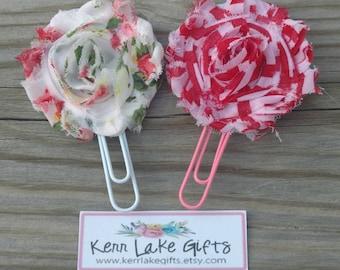 Shabby flower bookmark set for her, Gift for librarian, Book lovers gift, Pink flower bookmarks, Gift for sister, Reader gift idea