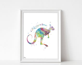Kangaroo poster, animal illustration, wall decor, bedroom, living room, baby