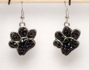 Silver Plated Black Paw Print