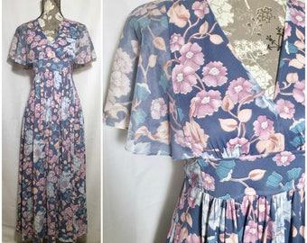 Vintage 1970s Floral Maxi Dress // S