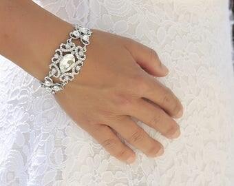 Vintage Wedding Bracelet, Bridal bracelet, Crystal Wedding bracelet, Wedding jewelry, Crystal bracelet, Ref ALICIA