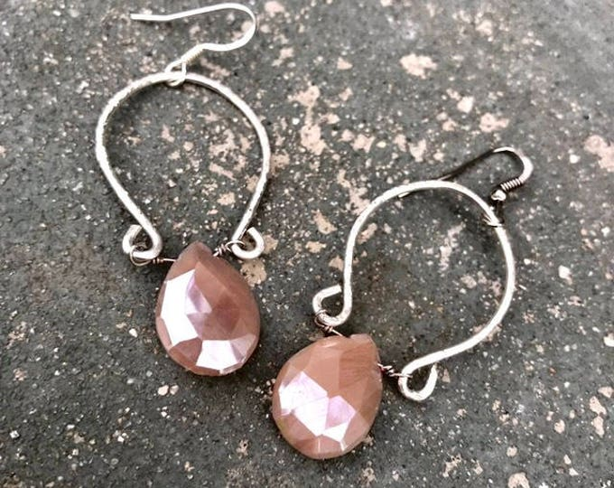 Peach Moonstone Hammered Sterling Silver Hoops