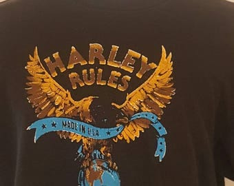 Vintage Harley Davidson Harley Rules Made In USA Since 1903 Shirt Size XL