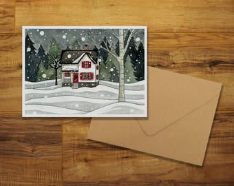 Evening Snow Greeting Card