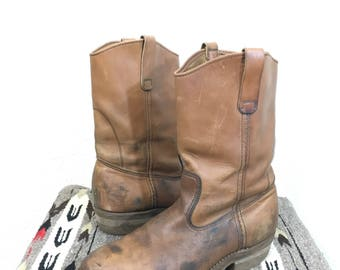 80's vintage red wing pecos western cowboy leather boots made in usa