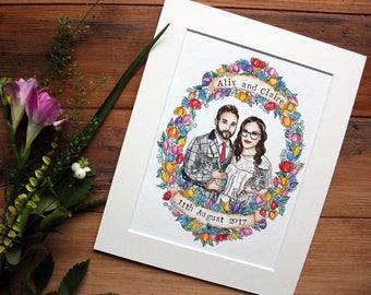 Couple illustration, Wedding Anniversary gift,  Wedding gift, Couple illustration, Gift for the newlyweds, Couple's gift,