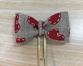 Valentine Heart Bow planner Clip  Bow clip