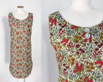 Vintage 1960s floral sleeveless shift dress / 60s vintage dress / small S medium M