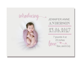 BIRTH ANNOUNCEMENT template for Photoshop, instant download, fully editable