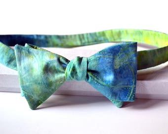 Blue Bowtie, Green Bow Tie, Blue Green Bowtie, Self Tie Bow Tie, Mens Bow Tie, Groomsmen Bowtie, Wedding Bow Tie, Prom, Bow Ties for Men