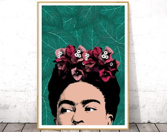 Frida Kahlo Art, Poster Frida Kahlo, Frida Kahlo Portrait, Celebrity Portrait, Frida Kahlo, Celebrity Posters, Digital Download, Pop Art
