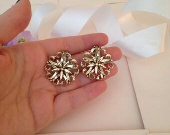 Filigree - Intricate Earrings - Clip on Earrings - Snowflake Earrings - Clip Earrings - Vintage Earrings - Costume Earrings - Jewelry - Gift