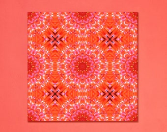 Blossom mandala print on canvas ~ Feng shui decor for Good Luck, Success & Passion ~ Large Red Modern Floral wall art ~ Nature Photography