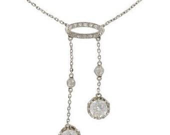 Necklace old neglected diamonds 18K White Gold Platinum rim