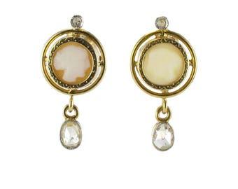 Boucles d'oreilles camées diamants Or jaune 18K Napoléon III  Antique