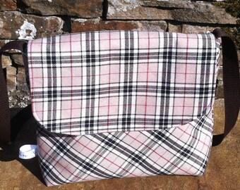 Beige and black tartan, tweed handbag.  Brown tartan, satchel, gift for her, birthday gift, gift for her, satchel, anniversary gift
