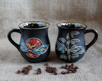 Christmas gifts for friends Ceramic mug set of 2 Pottery coffee cup Stoneware ceramic pottery tea mug New home gift ideas for teachers mug