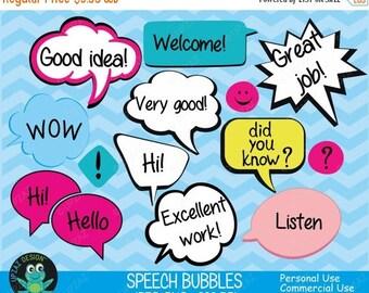 75% OFF SALE Speech Bubble Clipart, Commercial Use, Speech Bubbles, Digital Clipart, Digital Images - UZ610