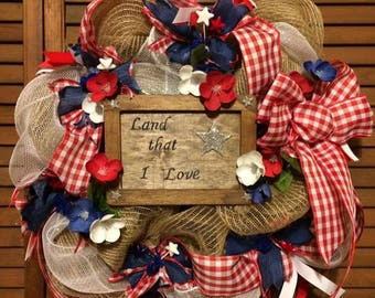 Patriotic Burlap and Mesh Wreath