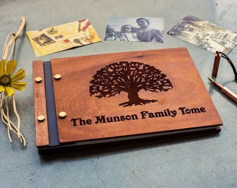 Personalized family tree scrapbook , Family photobook , Scrapbook , Custom family photo album , Wooden photobook