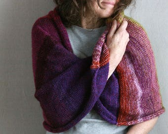 Purple Aster bulky shawl / Mohair shawl wrap / Knitted blanket throw scarves / Knit shoulder warmer / oversized purple shawl