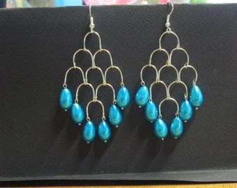 Turquoise satin Pearl Earring