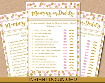 "Mommy or Daddy, Who Said Baby Shower Game, Pink and Gold Dots, 5""x7"" game board, Instant Download, DIY, PDF, Printable"