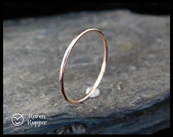 14k Solid Rose Gold ring, hammered, thin ring, 1mm ring, made at your size. Skinny ring, stacking ring. Wedding band, engagement ring.
