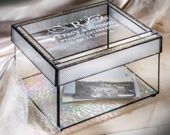 Wedding Card Box Wedding Card Holder Personalized Glass Wedding Keepsake Box Wedding Decor Wedding Reception Card Box  841 CBE 841