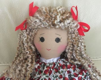 traditional rag doll, original rag doll, handmade rag doll, unique rag doll, nursery decor