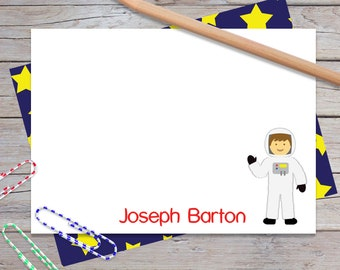 Boys Personalized Stationery, Space Stationary Set for Boy, Astronaut Notecards for Kids, Blank Note Cards, Custom Card  (Item #1708-014FL)
