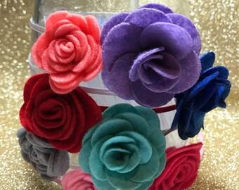 Flower headband, felt flower, felt, blue, pink, purple, yellow, green, brown, red,