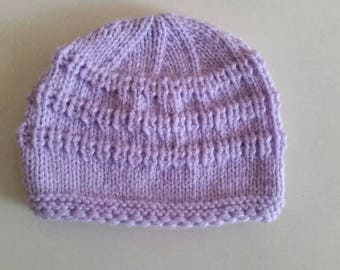 Knitted baby hat, size 0-3  months, light purple   color , for girl