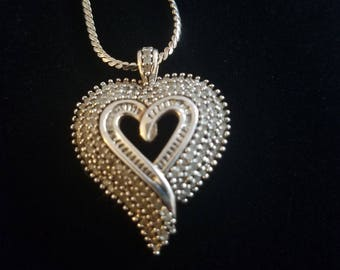 "CP047: 5.5g Vintage Solid Silver Genuine Diamond Tiered Heart Pendant w/4.4g Solid Silver Dark Patina Serpentine Link 24"" Sterling Necklace"