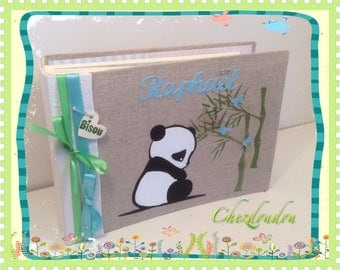 """""""panda Kiss"""" linen guest book or album for a birth or baptism"""