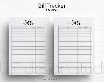 Bill Tracker, A6 Planner Insert, Planner Printable, Bill Insert, Finance Planner, A6 Insert, Bills Calendar, Monthly Tracker, Bill Organizer