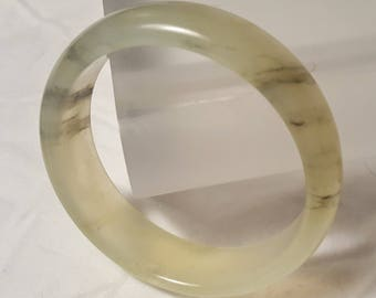 Jadeite Jade Faint Pale-green white with Green Bands Bangle- 57.2mm