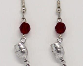 Ruby colored wine glass earrings