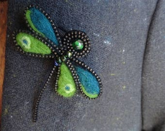 Handmade, Needle Felted Green Dragonfly Brooch