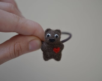 Elastic Metal-Free Hair Tie (Ponytail Holder) - Needle Felted Tiny Brown Bear with Red Heart