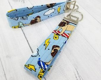 Key Wristlet - Dog Key Fob - Key Ring - Keychain - PUG LIFE - Quilted - Gift for Teacher, Dog Lover, Dog Mom, Best Friend, Mom, Pet Sitter