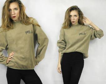 FILA fleece / Vintage fleece sweatshirt / Fleece pullover FILA / Fleece vintage top /  FILA sweatshirt  / Winter sweatshirt