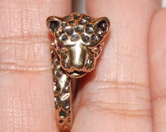 VINTAGE 10K Solid Yellow Gold Ring Panther Band Jaguar Leopard Size 6 RARE