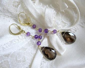 Purple amethyst drops-cut smoky quartz earrings Gold 8 Carat 333 or 14 k 585 gold or