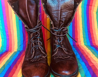 Vintage Mens brown leather cowboy boots