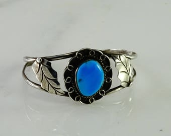 Sterling Cuff with Blue Stone