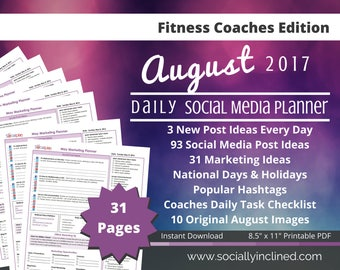 Social Media Planner - Fitness Coaches - 10 August Images, 93 post ideas, 31 marketing tips, 3 daily social posts - Beachbody coaches